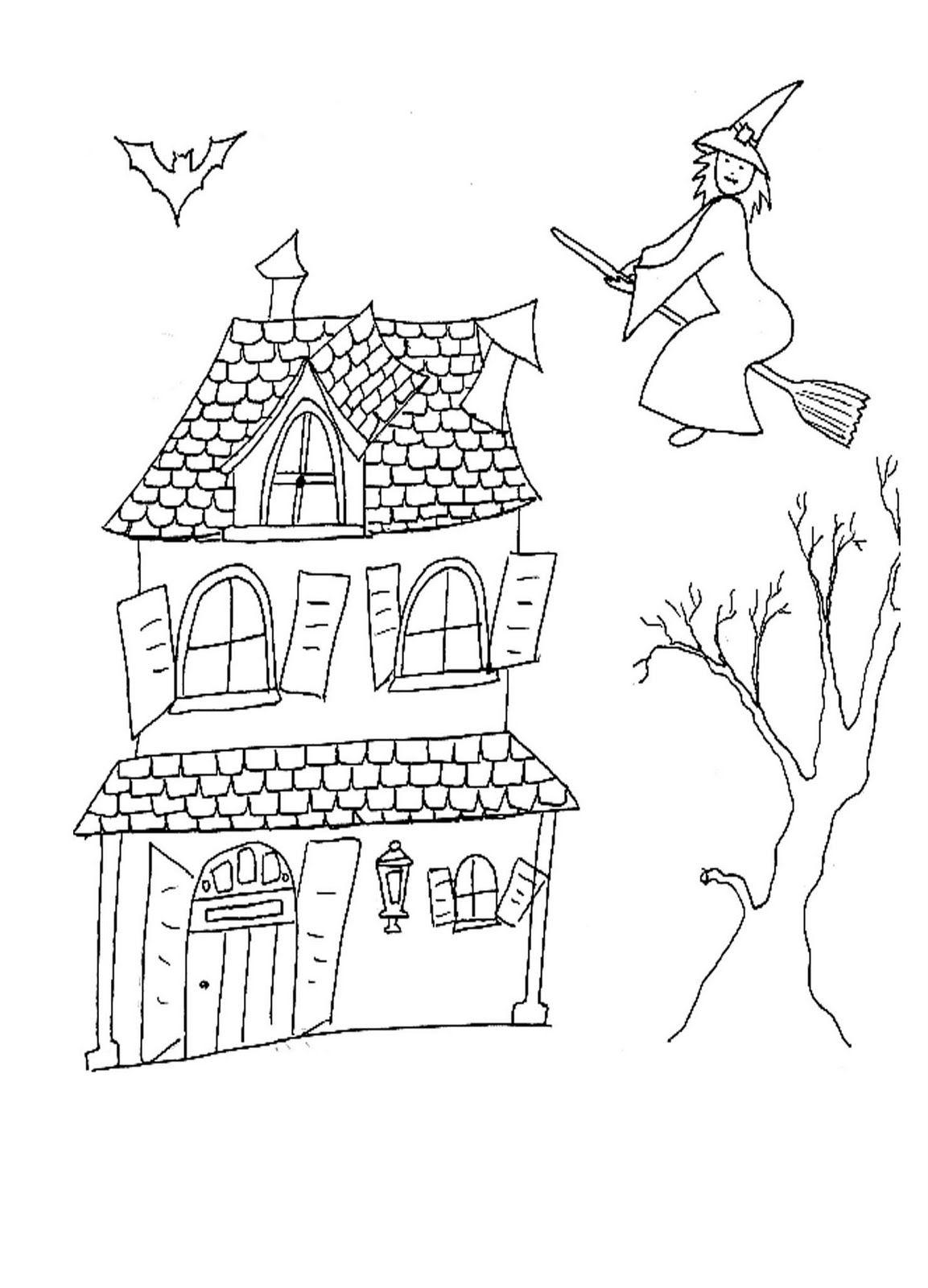 Casa Encantada Y Bruja Dibujalia Dibujos Para Colorear Eventos Especiales Halloween Casa Encantada Y Bru Dibujos Dibujo De Casa Dibujos Para Colorear