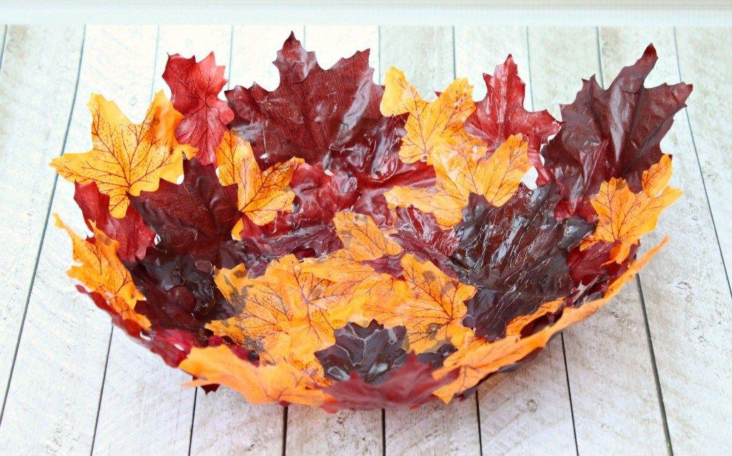 diy leaf bowl easy craft with mod podge and leaves  diy