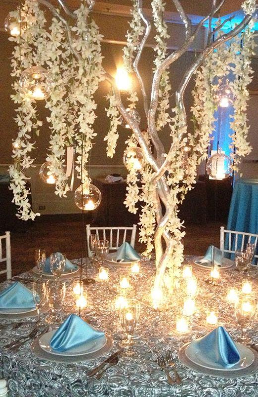 John Michael Weddings & Special Events - Tiffany Blue and Platinum Wedding Reception Decor