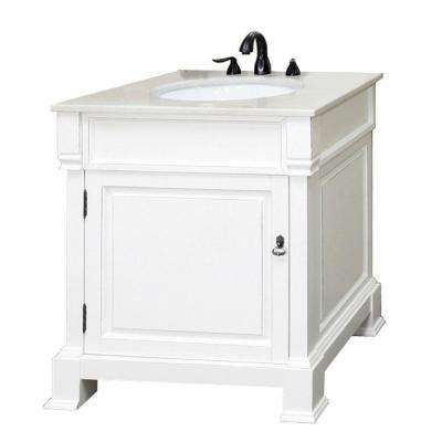 Olivia 30 in W x 35-1/2 in H Single Vanity in White with Marble