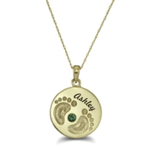 Zales Mothers Birthstone Footprints Round Disc Pendant (1 Stone and Name) 3tf9DW5TyA