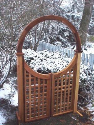 New England Woodworks Sh 4436 Single Halo Arbor Garden Arbor With Gate Garden Gate Design Wooden Garden Gate