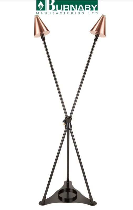 Burnaby Manufacturing 3-Head Natural Gas Tiki Torch Stand Copper Color