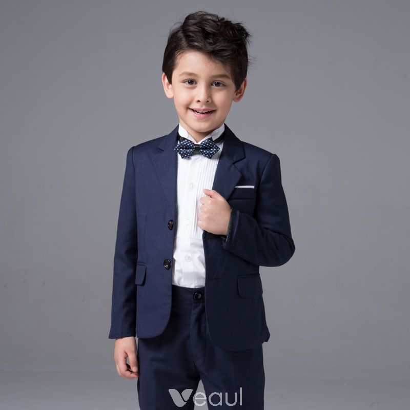 Modern / Fashion Navy Blue Long Sleeve Boys Wedding Suits 2017 ...