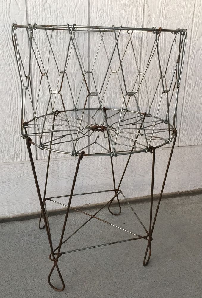 Vintage Wire Laundry Basket Hamper Collapsible Antique Wire Basket