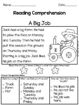 Reading Comprehension Passages: Farm Theme | Englisch, Bildung und ...