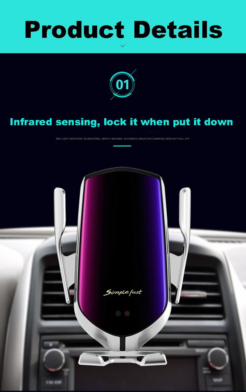10W R1 Automatic Clamping Car Wireless Charger For iPhone