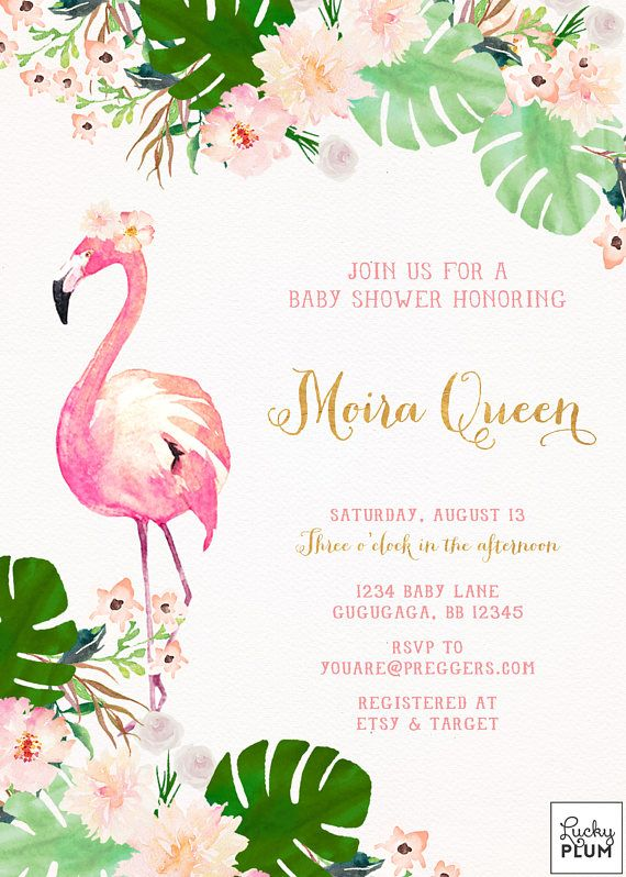 Flamingo Baby Shower Invitation Tropical Baby Shower