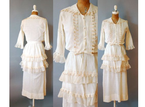1910s Gauze Dress / Regal Ruffles Dress / by wildfellhallvintage