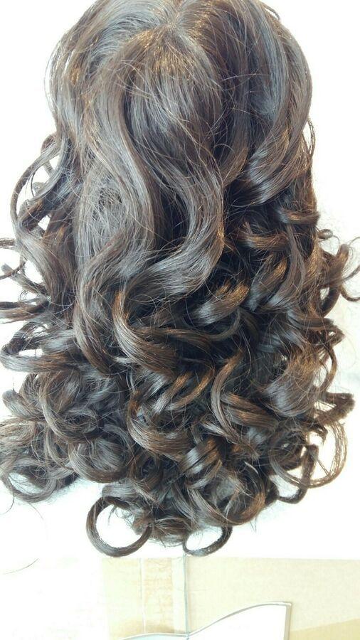 ladies long dark brown curly wig  ,