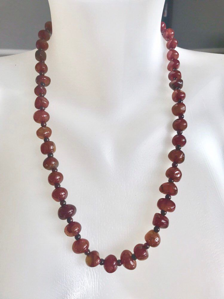 Vintage carnelian nuggets beads Carnelian necklace Garnet seed beads Long beaded necklace 24 inch necklace