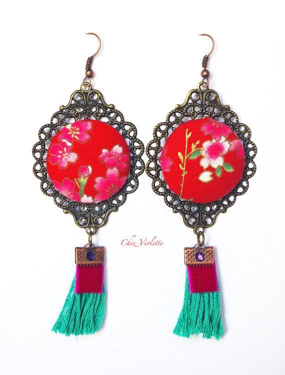 red dangle earring Japanese Fabric earrings by chezviolette