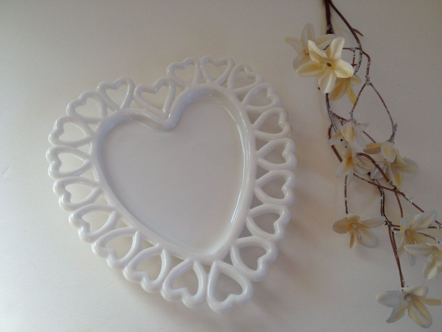 Milk Glass Heart Plate, Westmoreland Sweetheart White Candy Dish Tray  Wedding Decor