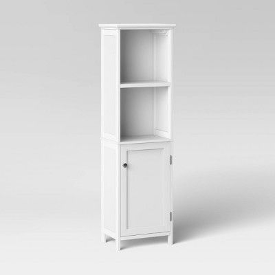 Wood Linen Tower White Threshold, Target Storage Cabinets Bathrooms