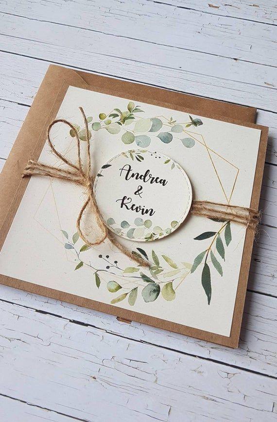 Hochzeitseinladungen Eukalyptus Grüne Pflanzen Hochzeitspapeteri Kraftpapier Einladungen zur Hochzeit Hochzeitskarten Rustik Vintage