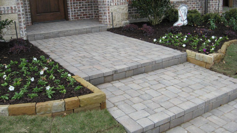 walkway pavers of cambridge cobble in silex grey gardenoutdoor pinterest walkways concrete walkway and driveways - Paver Walkway Design Ideas