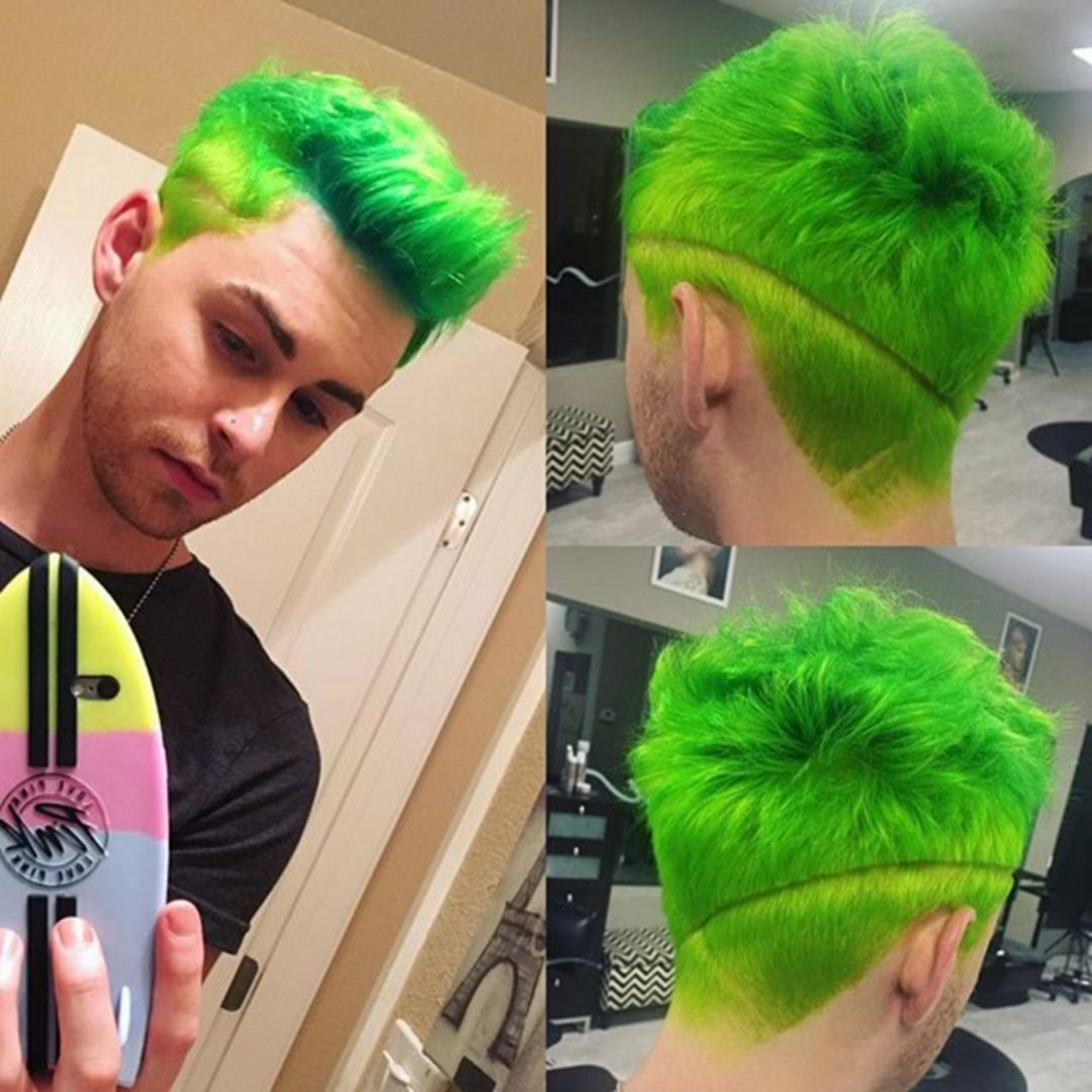 Cozy 35 Amazing Green Hair Color Ideas For Stylish Men Https Www Tukuoke Com 35 Amazing Green Hair Color Id Men Hair Color Green Hair Colors Neon Green Hair