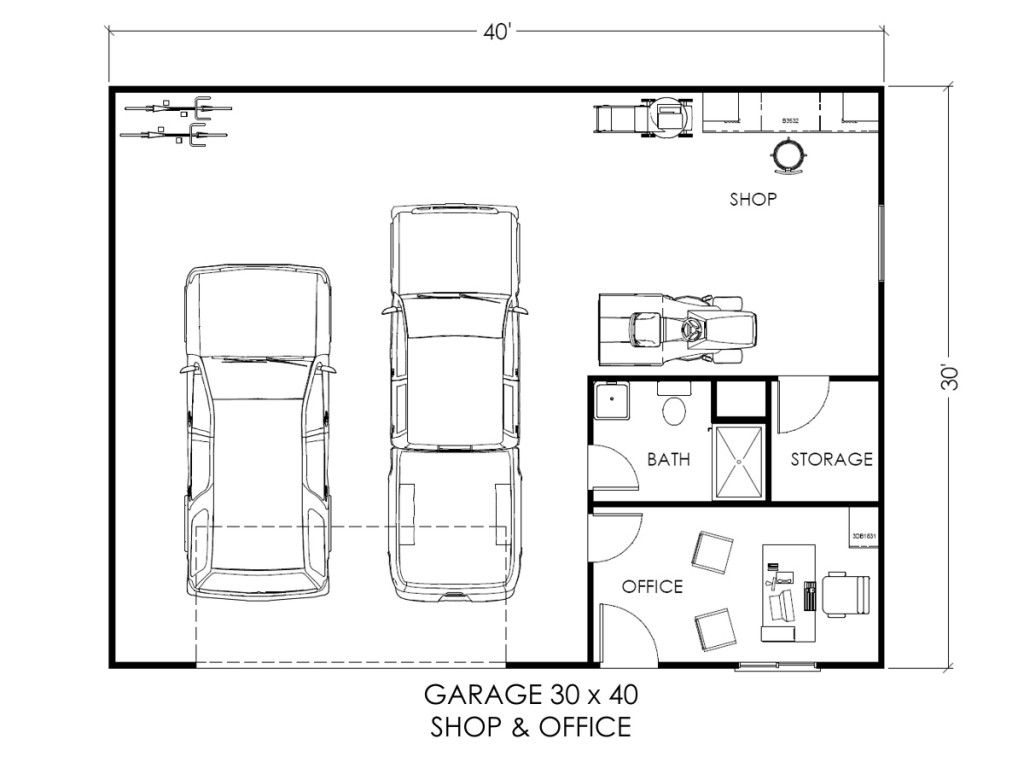 Custom garage layouts plans and blueprints true built for 40 x 40 apartment plans