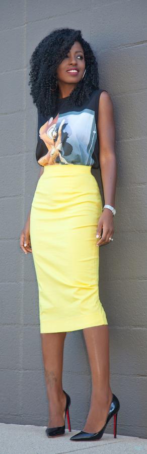 Bambi Print Tee + Yellow Pencil Skirt / Fashion By Style Pantry