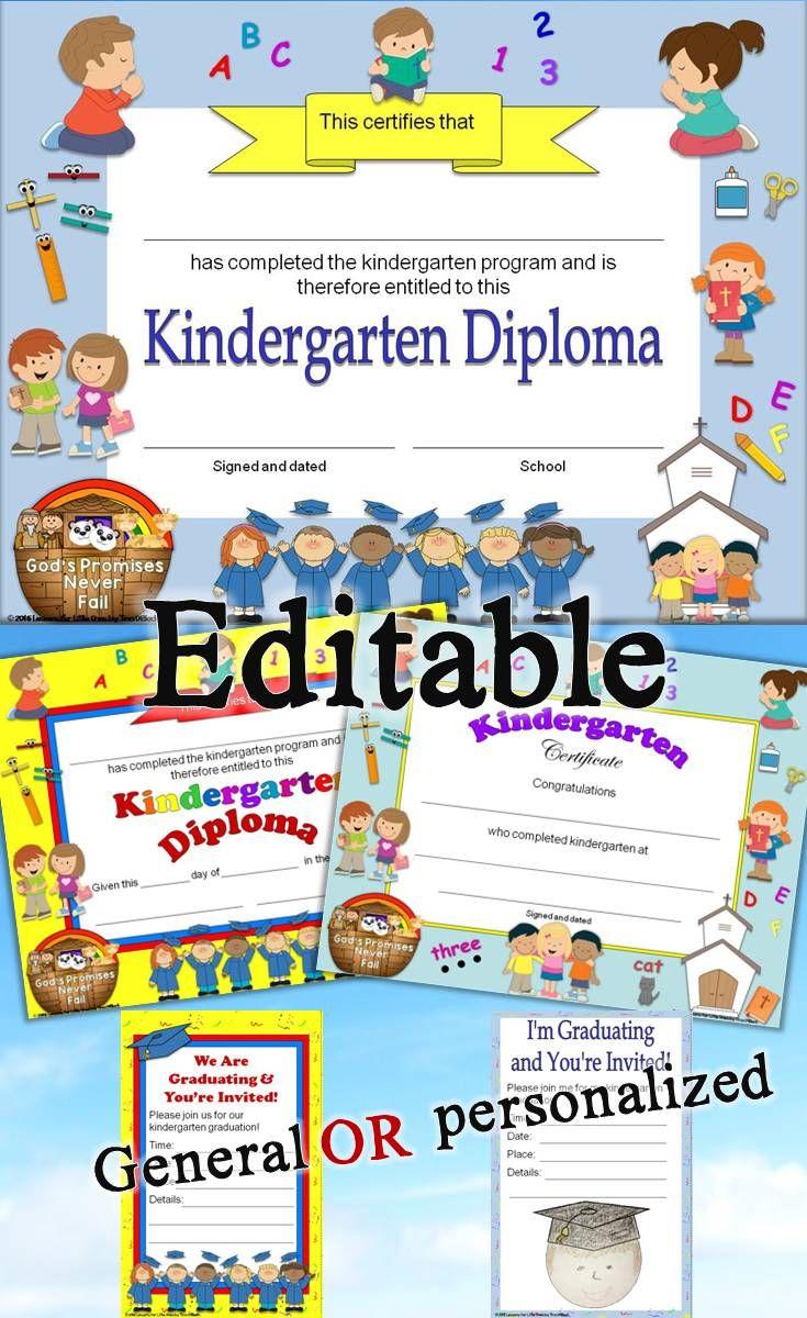 Kindergarten Diplomas Graduation Invitations Editable Religious