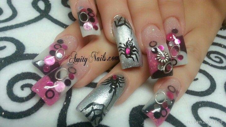 Pink fun holloween | Holiday nail art, Pink nails ...