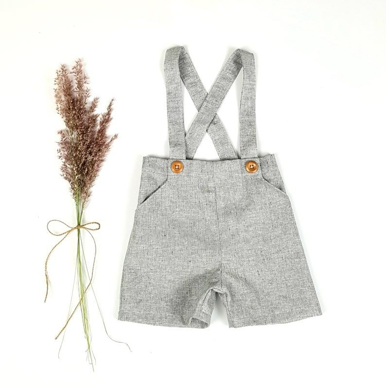 Boys Charcoal Chambray Linen Suspender Shorts Page Boy | Etsy