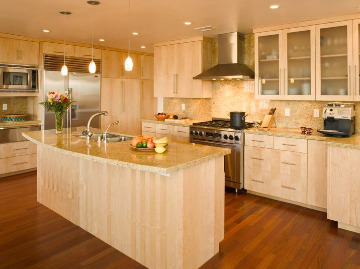An Islandshaped Modern Kitchen Design With Offwhite Walls U0026 Beautiful Maple Cabinetry Cabinets Contemporary 283675969 Kitchen