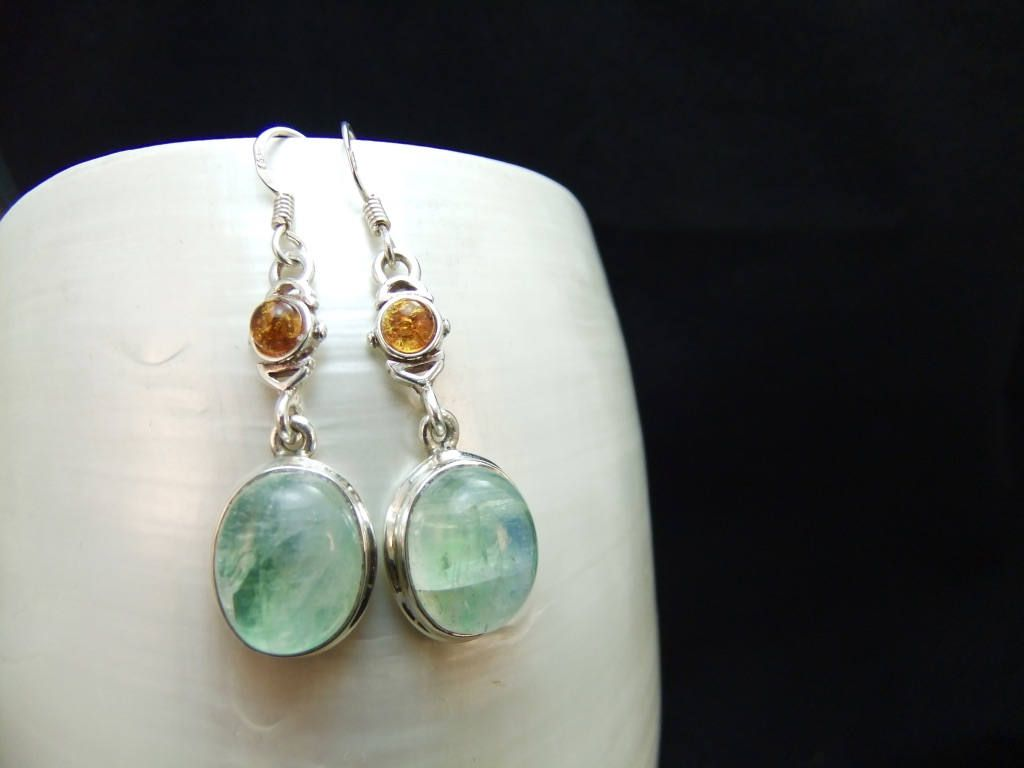 Green Moonstone & Amber Sterling Silver Earrings by ParadiseJewellery on Etsy