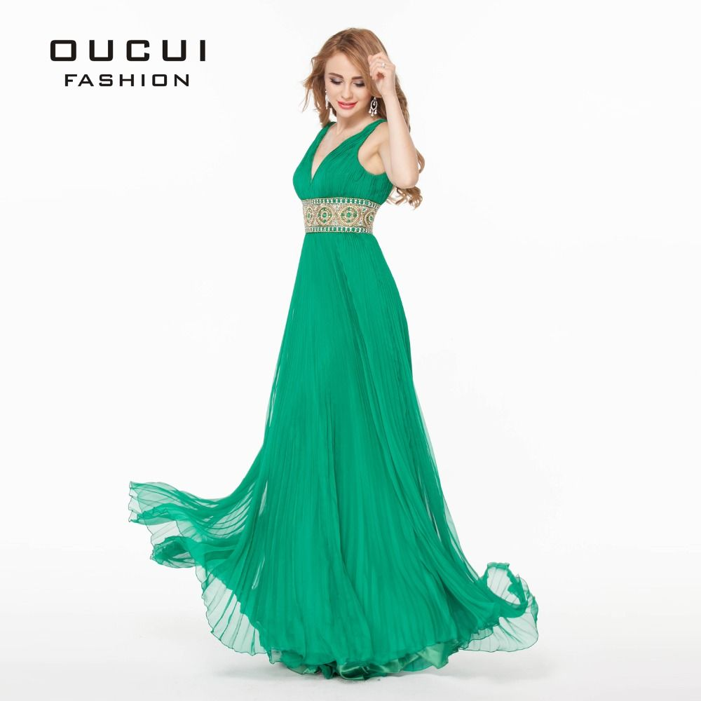 Real Photos Green Color Beading hand work Long Prom Dress robes de ...