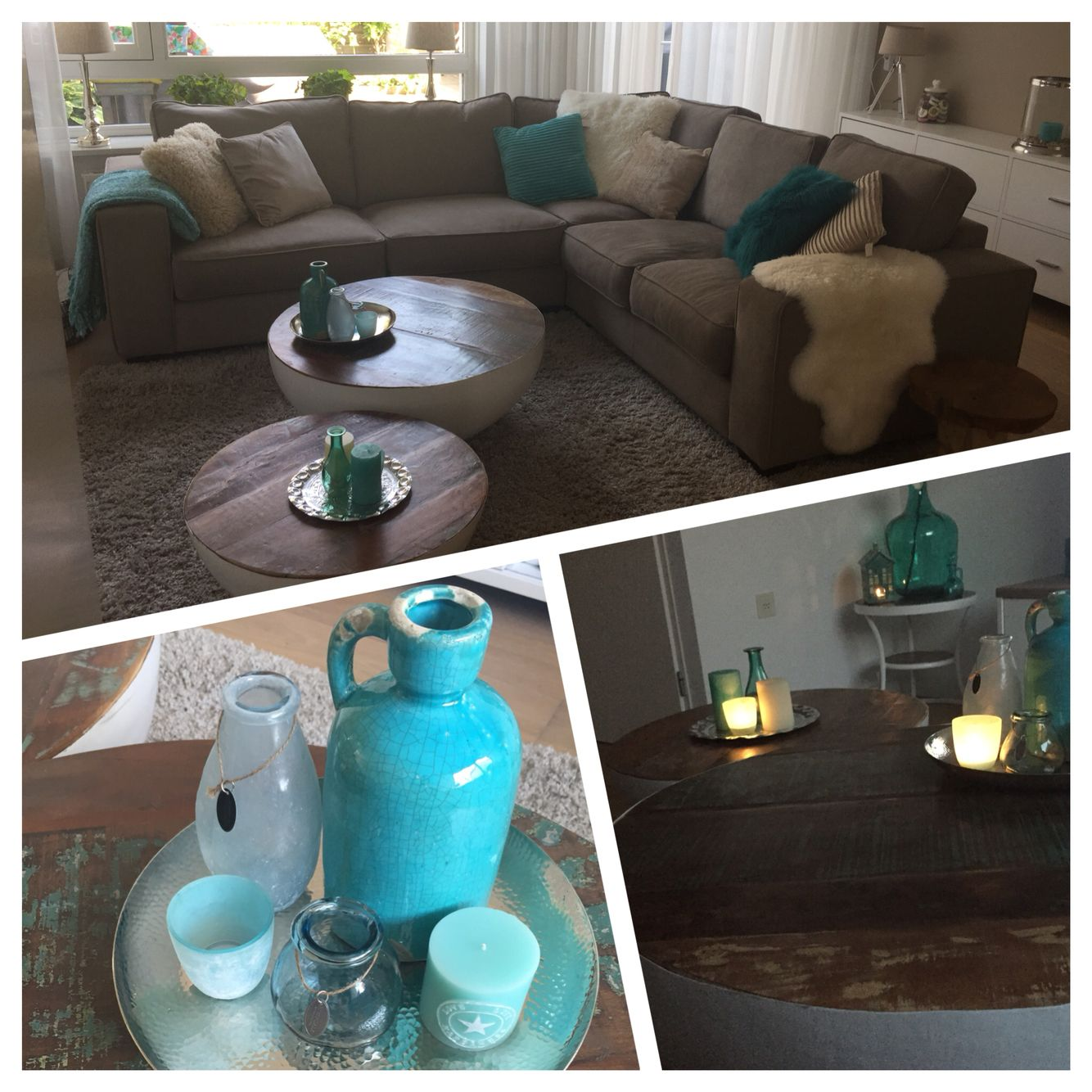 Bank woonkamer ❤ ! Turquoise beige.. Kussens | @t Home | Pinterest