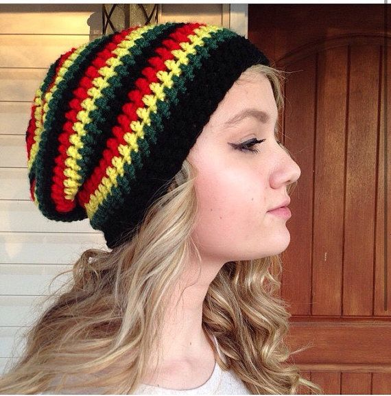 Jamaican Rasta Slouchy Beanie Made to Order by WhimsicalFlights ...