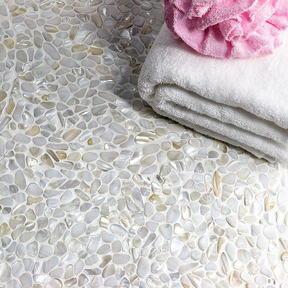 Oyster White Pearl Pebbles Tile | Pebble tiles, Oysters and Pearls