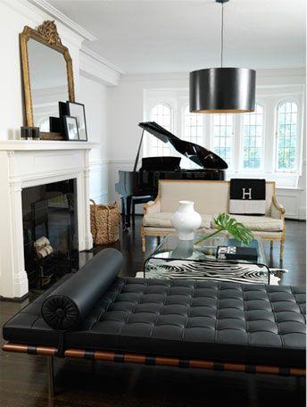 B & W, Gilded Settee, Zebra Rug, Black Modern Chaise, Hermes Blanket ...