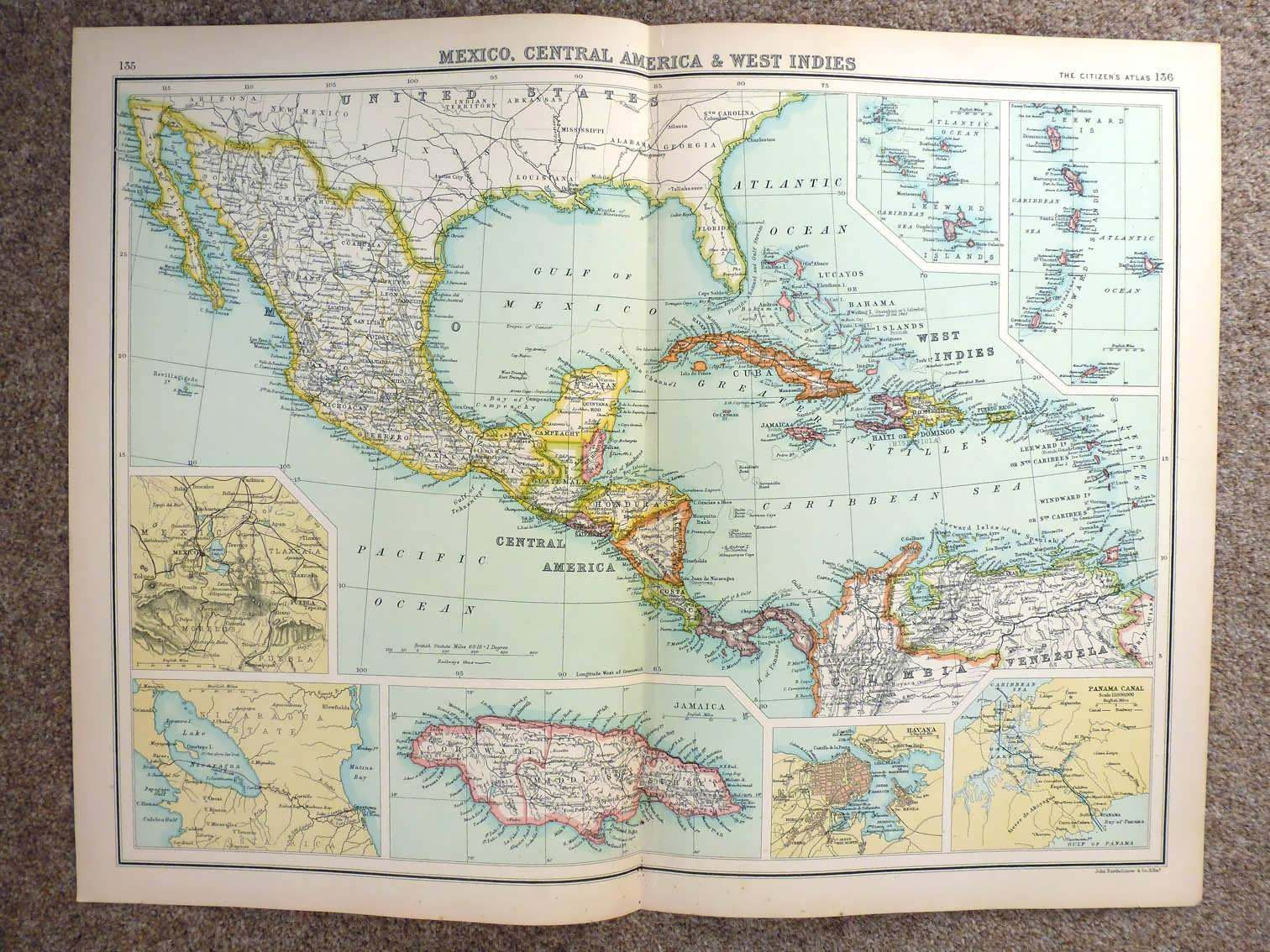 Map Of Us States Bordering Mexico%0A      Map of Mexico  Central America And The West Indies   eBay