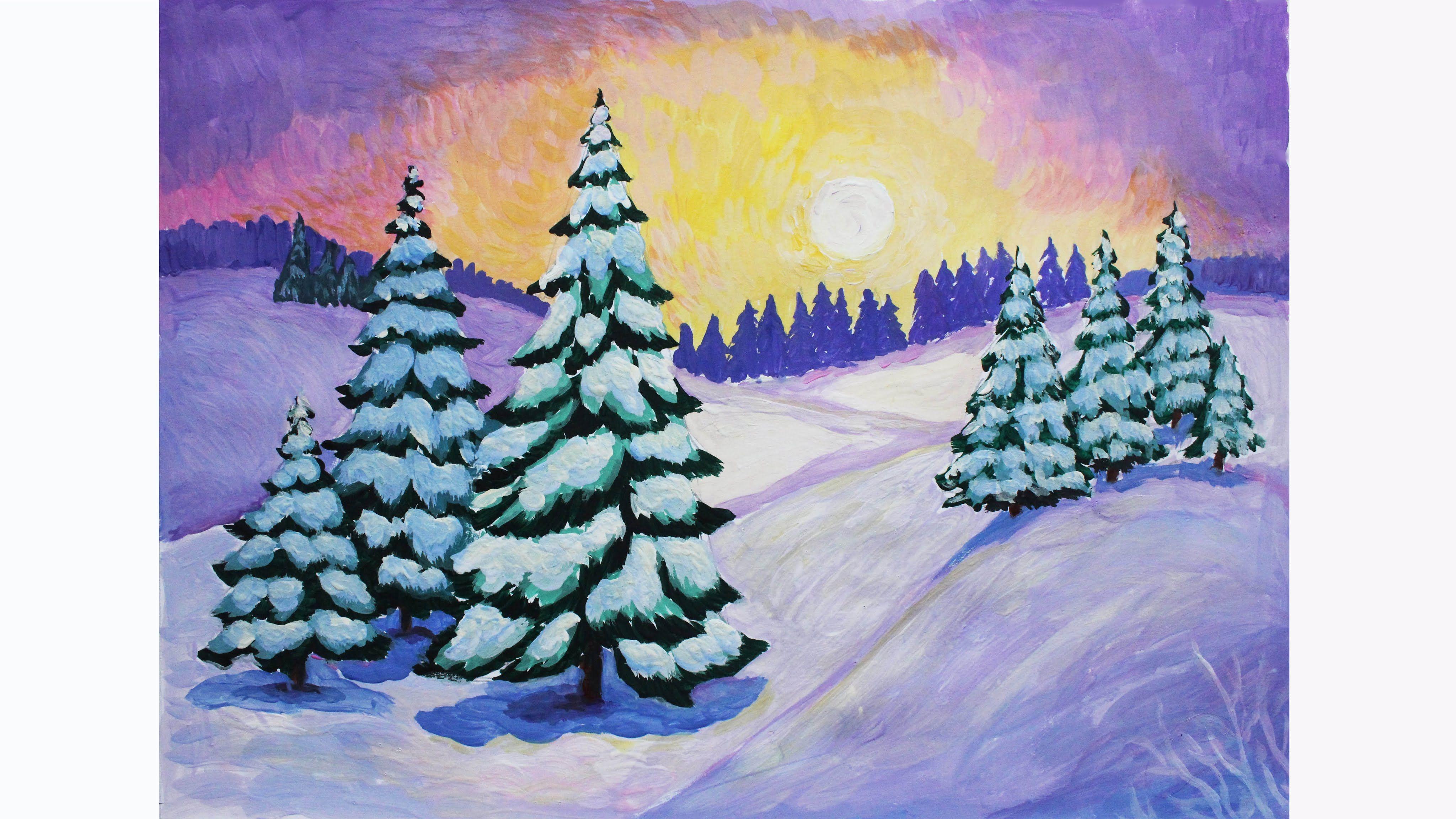 Рисунок на тему зима, днем рождения