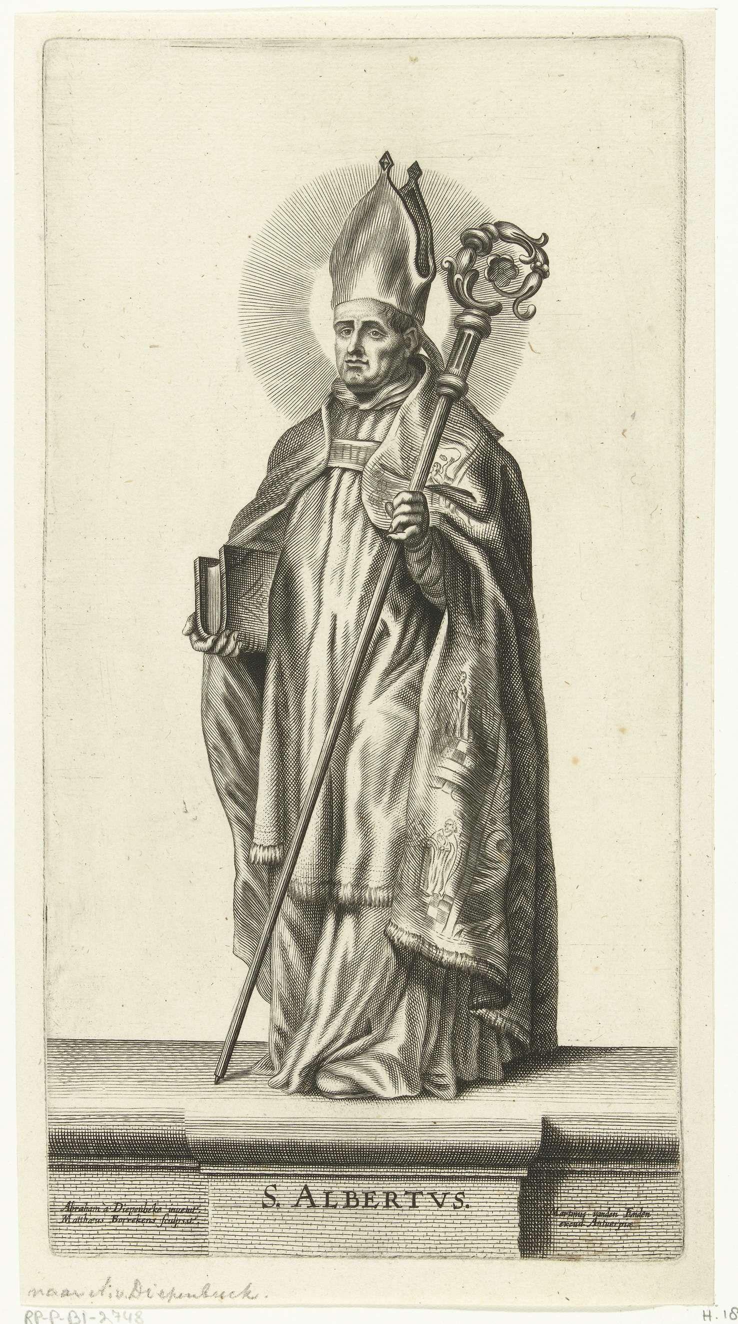 Mattheus Borrekens | Heilige Albertus, Mattheus Borrekens, Martinus van den Enden, 1644 | De Heilige Albertus. De H. Albertus was een Dominicaner monnik en bisschop van Regensburg. Hij was tevens professor Theologie. H. Albertus draagt de bisschopsmantel, mijter en heeft de kromstaf in zijn rechterhand. In zijn linkerhand houdt hij een boek vast, symbool voor zijn geleerdheid. Hij heeft een aureool rond zijn hoofd.