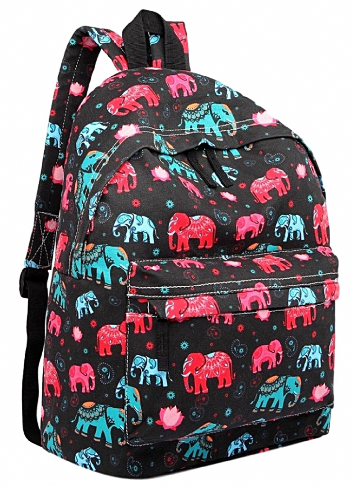 8e8b3eefb0d7 Black backpack rucksack with an Elephant print thick canvas fabric with  adjustable shoulder straps Fastens with a zip large external zip fastening