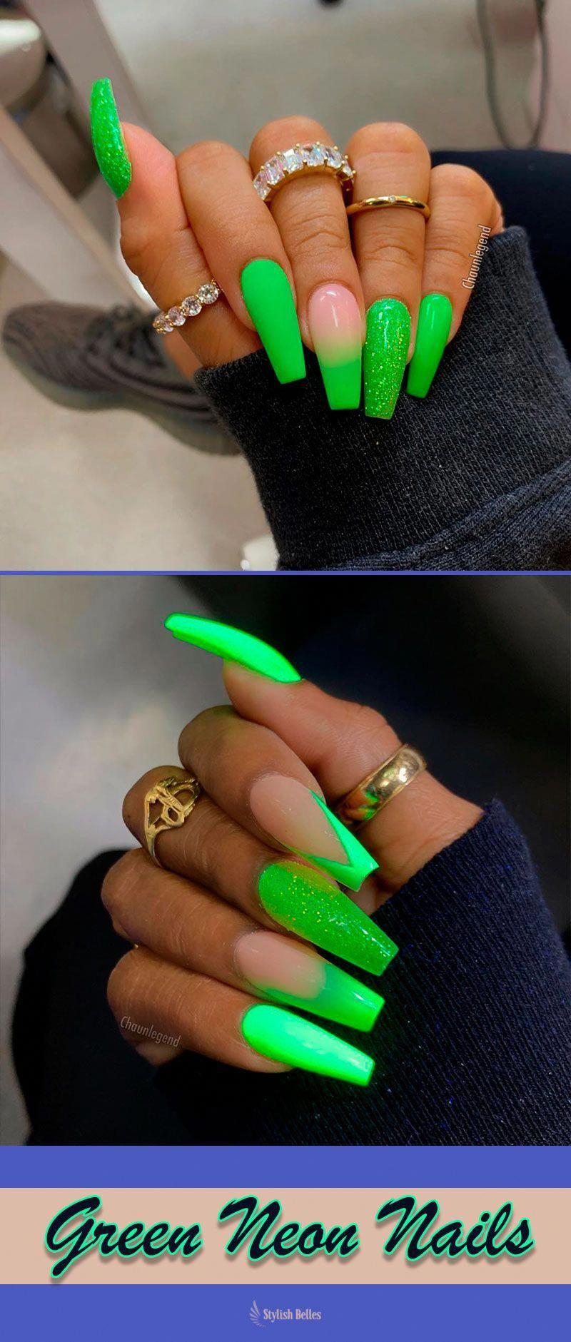 Green Neon Nails Summer Colors 2019 Summernails Summernailart Summernaildesigns Summernailcolors Coffinnails Neon Neon Green Nails Neon Nails Green Nails