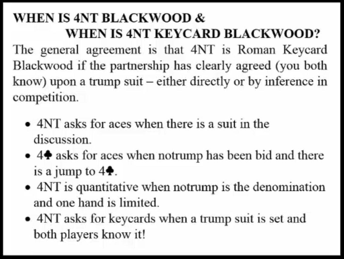 Bidding 4nt Blackwood 4nt Rkbw 4c Gerber Bid Inference Trump Suits