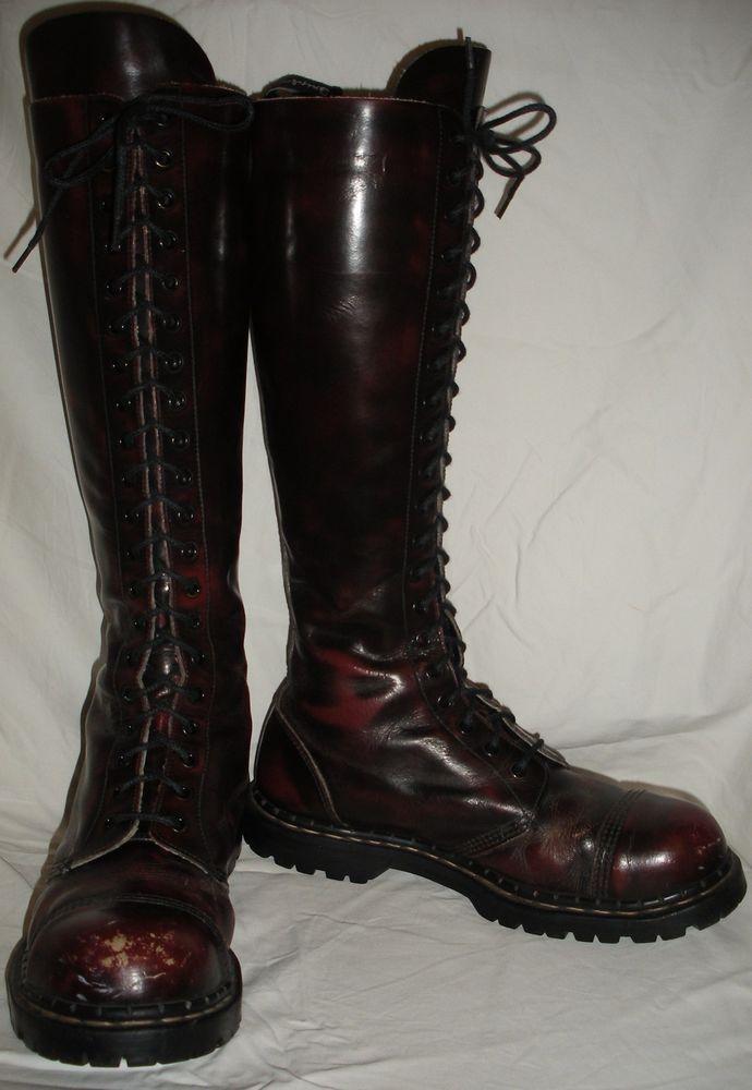 905f74143f58 Vintage Mens Size UK 12 USA 13 GRIPFAST 20 Eyelet Combat Tall STEEL TOE  Boots  Gripfast  Military