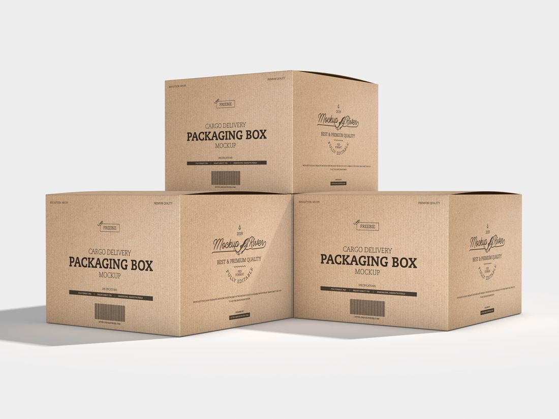 Download Cargo Delivery Packaging Box Free Mockup Freebies Fribly Box Mockup Packaging Template Design Mockup Design