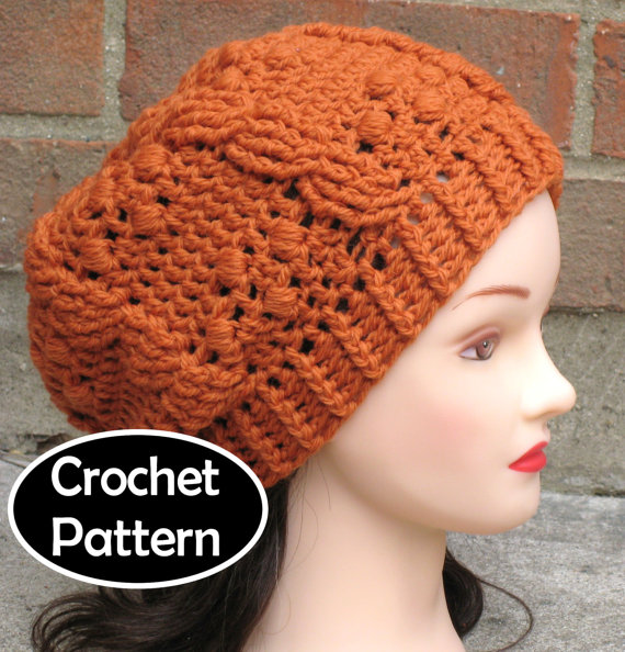 860a665a044 CROCHET HAT PATTERN Pdf Instant Download - Giana Cabled Beret Tam Beanie  Womens Teens - Permission t