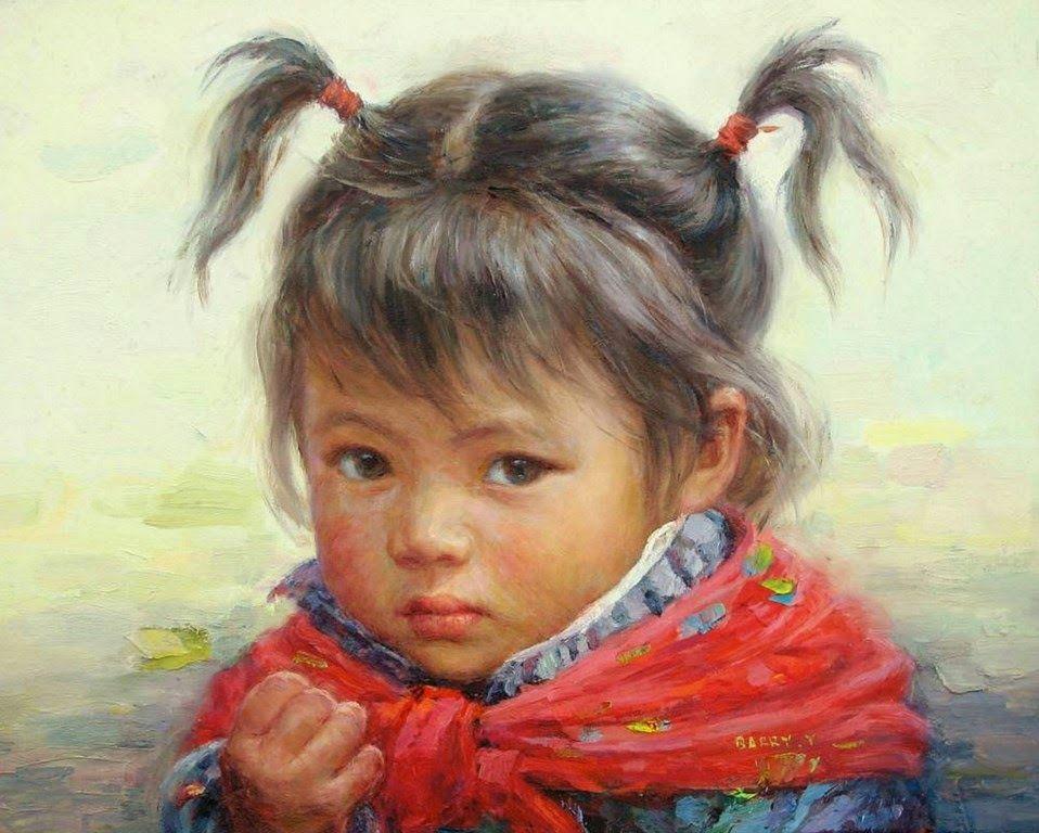 Retratos pintados al oleo de ni os rostros y telas - Pinturas de cara para ninos ...