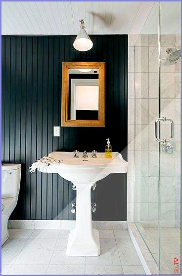 Brooklyn Home Company Park Slope Apartment Cococozy Bathroom Bath Sink Black Beadboard Bead Board Wall Beadboard Bathroom Bead Board Walls Wainscoting Bathroom