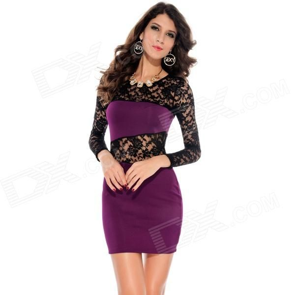 LC2738-4 Fashionable Sexy Hollow out Lace Insert Package-hip Dress ...