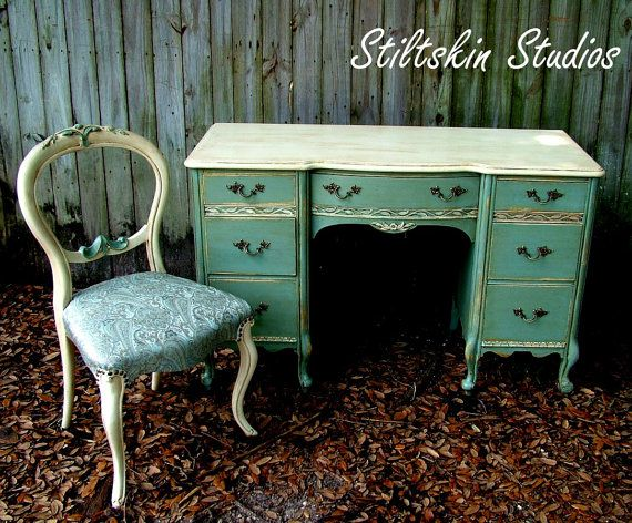 custom mixed Verdigris desk and recovered chair  #AnnieSloanUnfolded