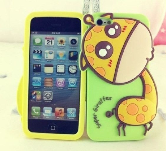 super popular 249b6 327ee Cute 3D Animal Giraffe Silicon Soft Cover Case for iPhone 5 #Ebay ...
