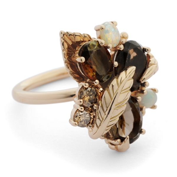 18ct rose gold autumn cluster ring set with brown diamonds, opals, alexandrites and smoky quartz
