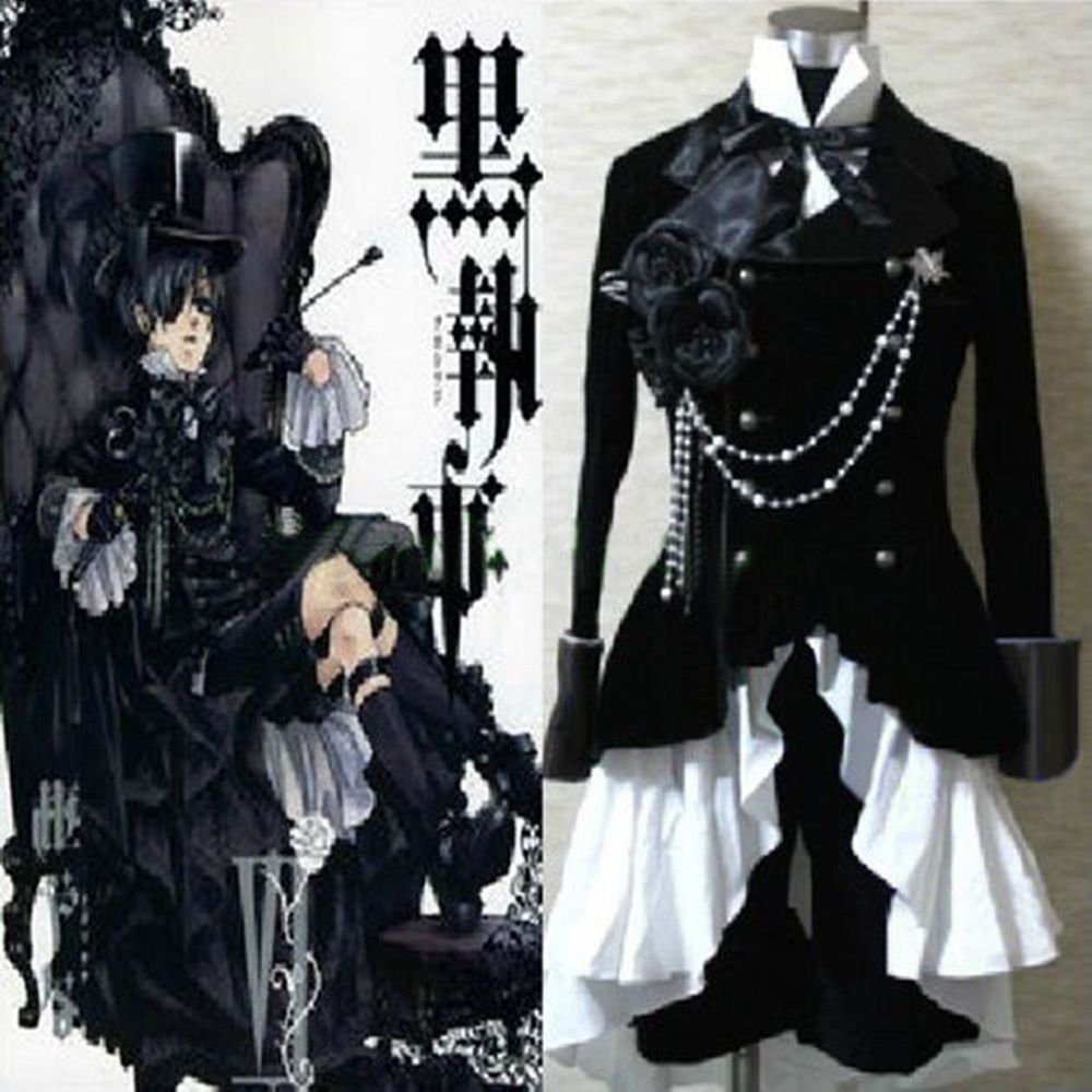 b3ad1f04d55 NEW Black Butler Ciel Phantomhive Black Suit Outfit Cosplay Costume 4 Size   Unbranded  Suit