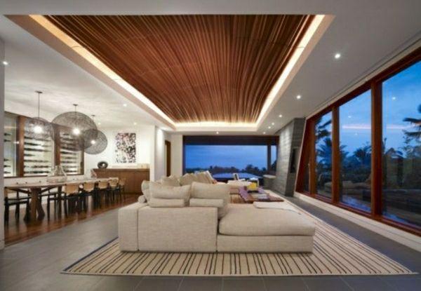 Faux plafond moderne comme élément décoratif de lu0027intérieur - abgehängte decke wohnzimmer